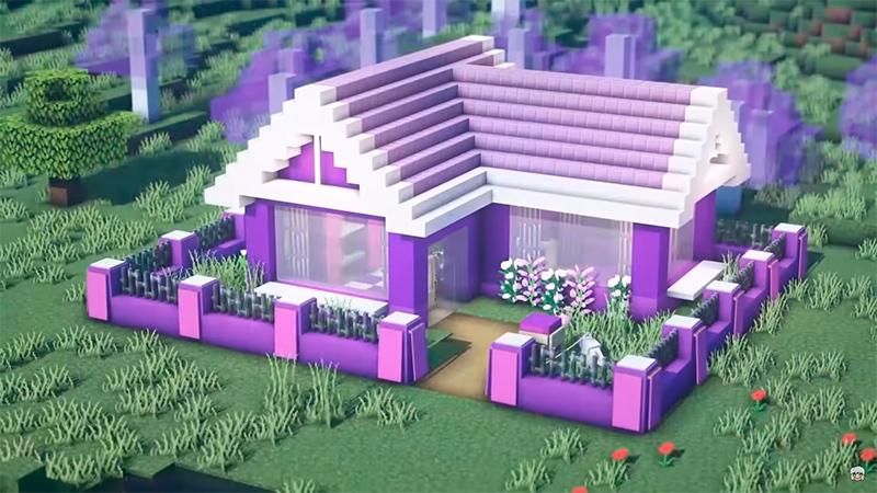 Bonita casa púrpura en Minecraft